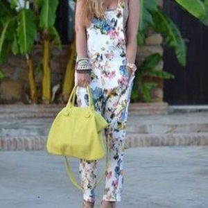 Mango casual floral romper playsuit overalls
